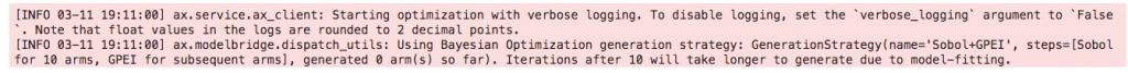 hyperparameter tuning ax loggin bayesian optimization option