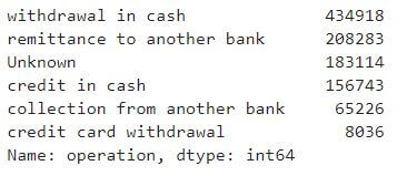 bank transactions operations types