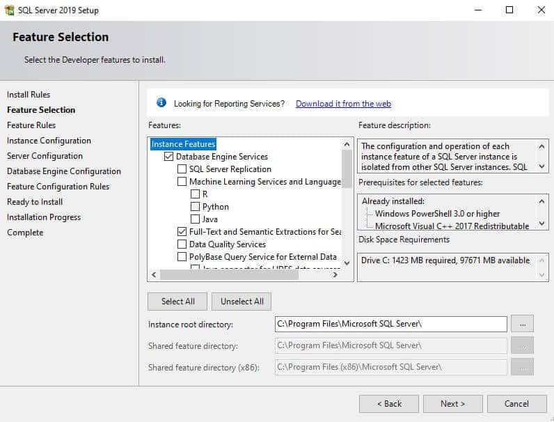 sql server install feature selection