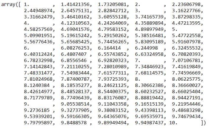 sqrt of array example