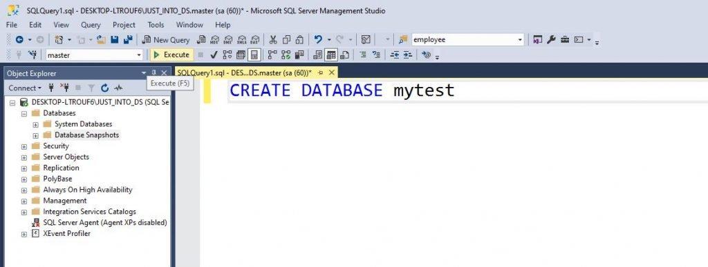 sql database tutorial create database sql server
