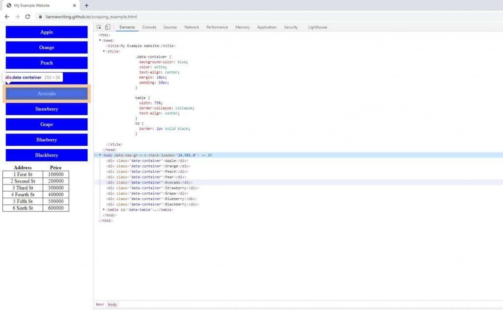 web scraping python beautifulsoup Chrome devtools html