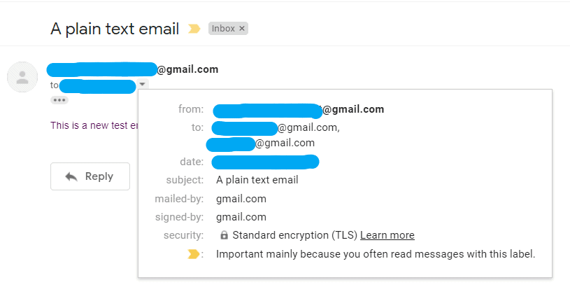 send plain text email with multiple recipients, subject, to